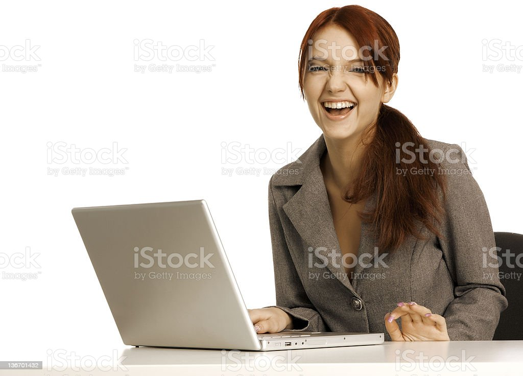 girl works on a computer royalty-free stock photo