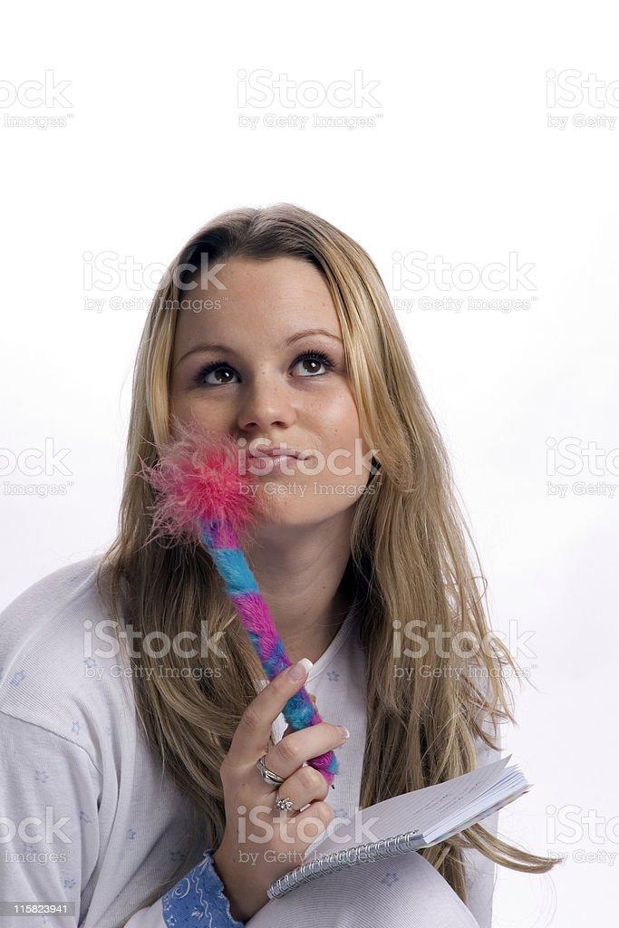 girl writing in diary royalty-free stock photo