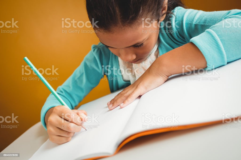Girl writing in her notebook royalty-free stock photo