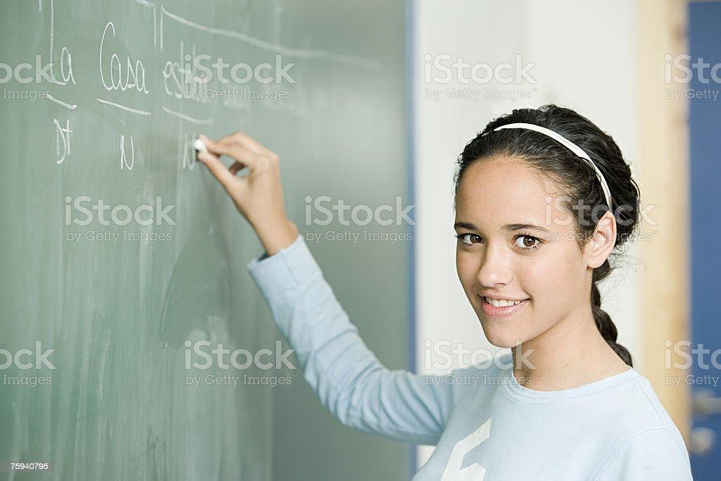 女の子書き込みに黒板 ストックフォト