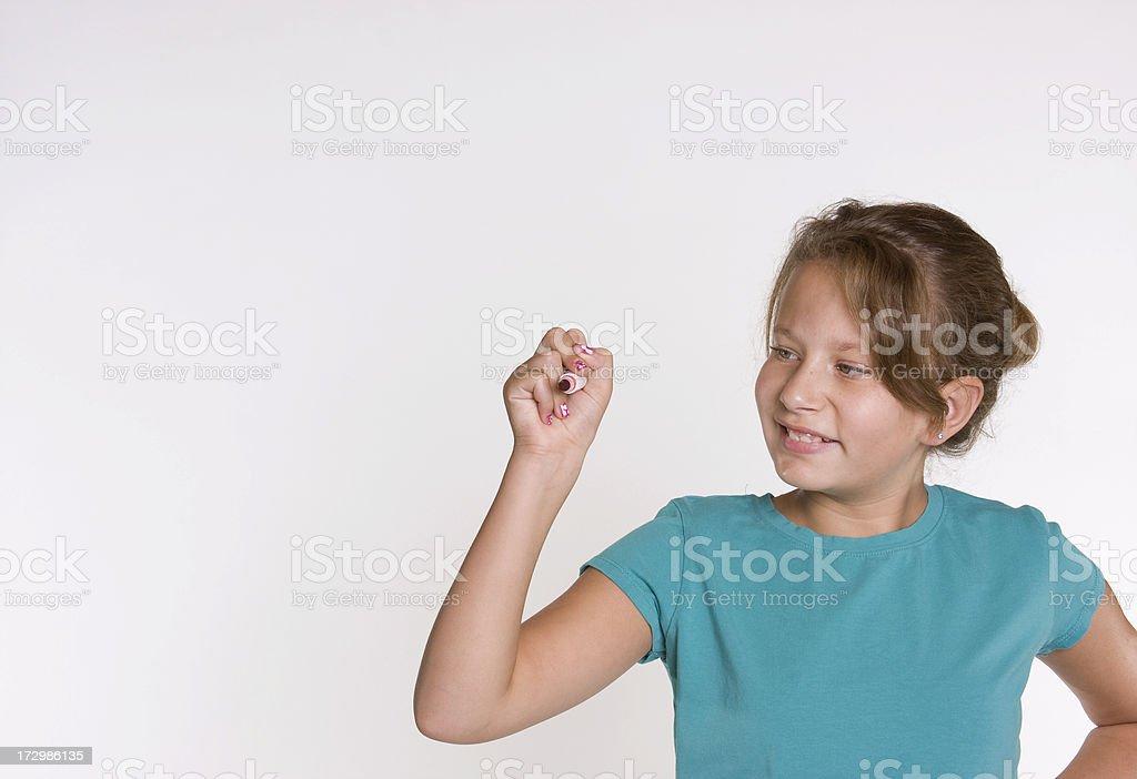 Girl Writing on Glass royalty-free stock photo