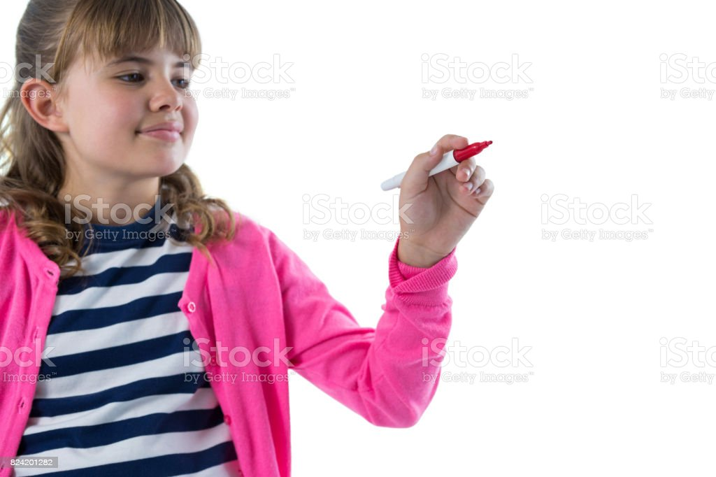 Girl writing on invisible screen stock photo