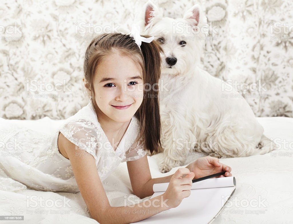 Girl writing royalty-free stock photo