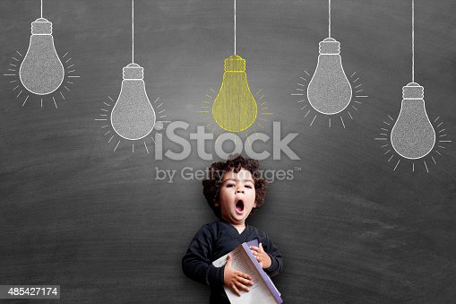 istock Girl yawning during study 485427174