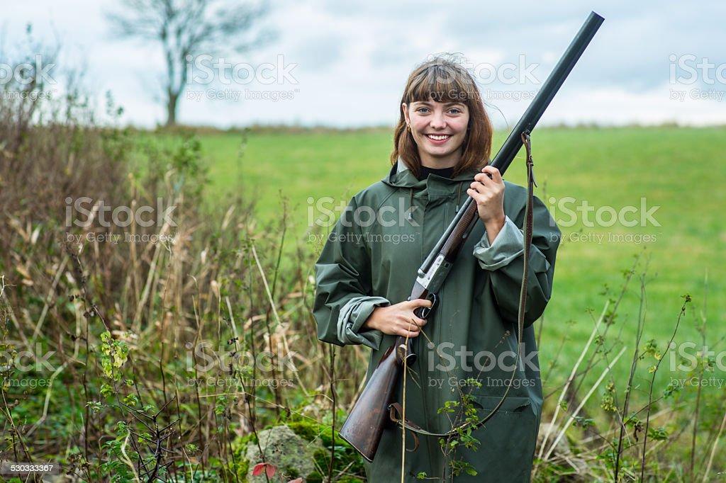 Girl_shotgun_smile stock photo