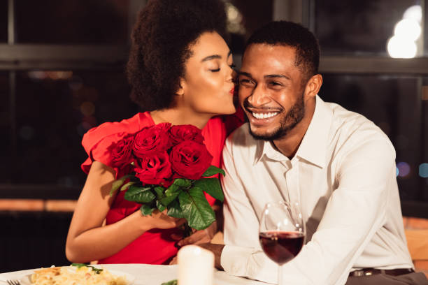 Girlfriend kissing boyfriend after receiving roses during date in picture id1199674512?b=1&k=6&m=1199674512&s=612x612&w=0&h=srdnuglxhx bkb1 bywlfufzivk syk1m7drrnvtbgs=