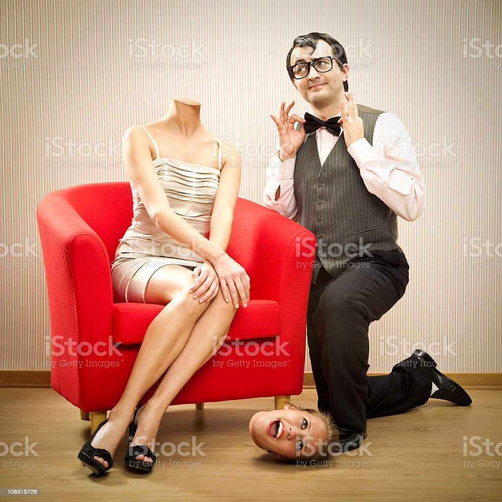 girlfriend loses her  head for fool boyfriend stock photo