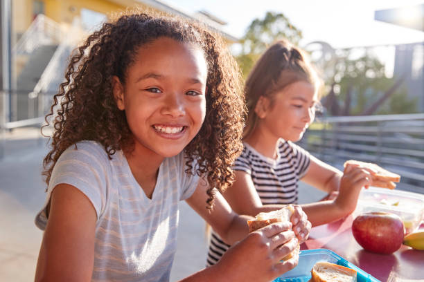 Girlfriends at school lunch table, one smiling to camera Girlfriends at school lunch table, one smiling to camera pre adolescent child stock pictures, royalty-free photos & images