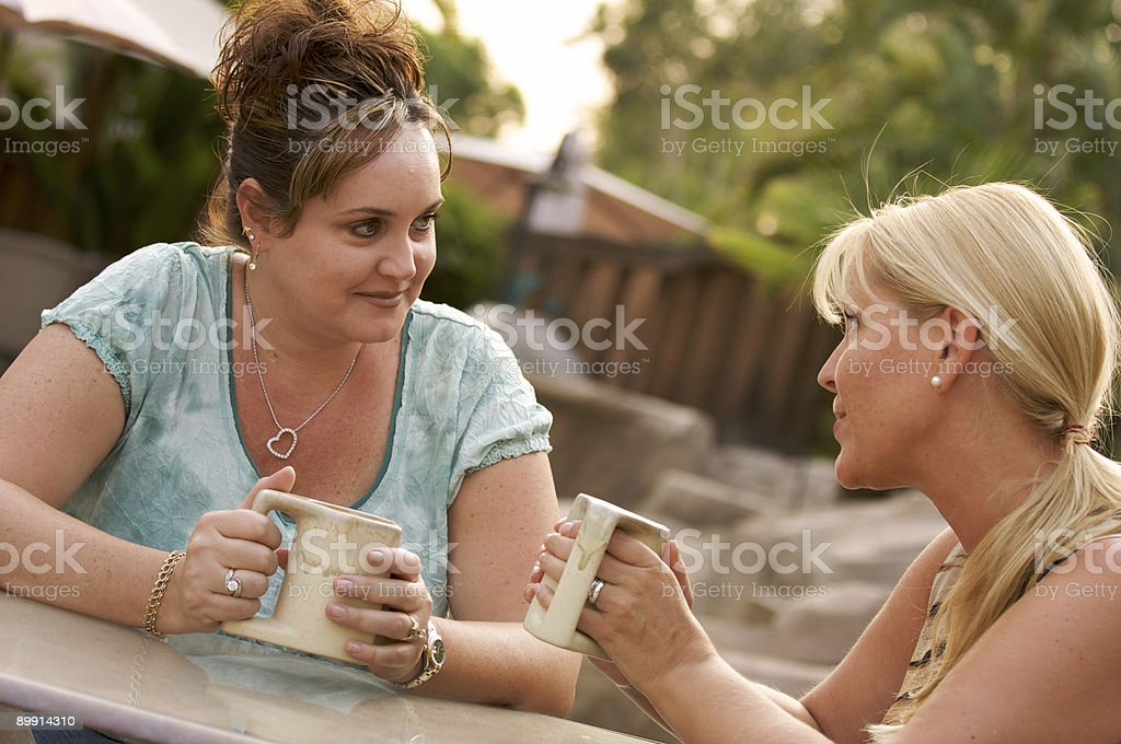 Girlfriends Enjoy A Conversation royalty-free stock photo