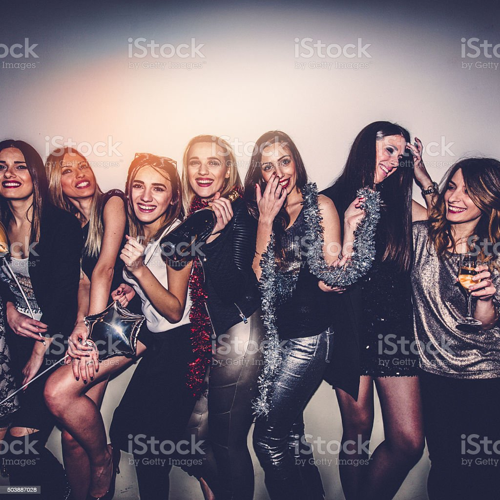 Girlfriends having a party stock photo