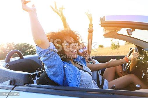 832085296 istock photo Girlfriends having fun on road trip 824133126