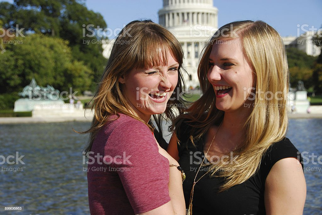 Girlfriends in D.C. royalty-free stock photo