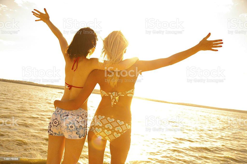 girlfriends on resort stock photo