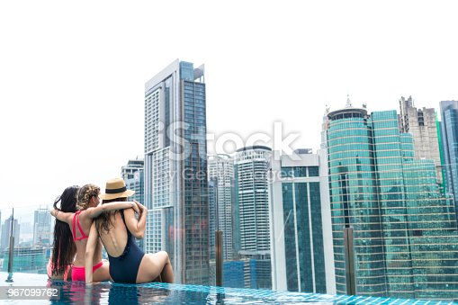 istock Girlfriends sitting on poolside and looking at view 967099762