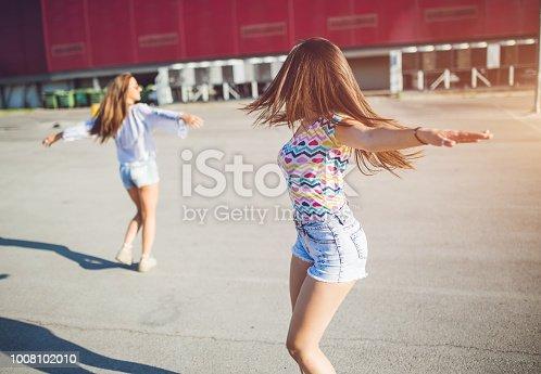 istock Girlfriends spinning around happily 1008102010
