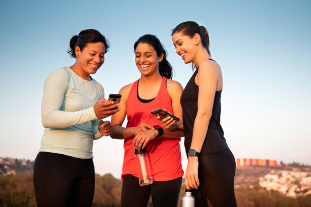 Girlfriends Training Together stock photo