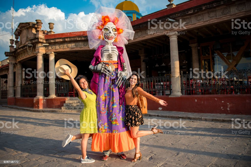 Girlfriends Traveling Mexico stock photo