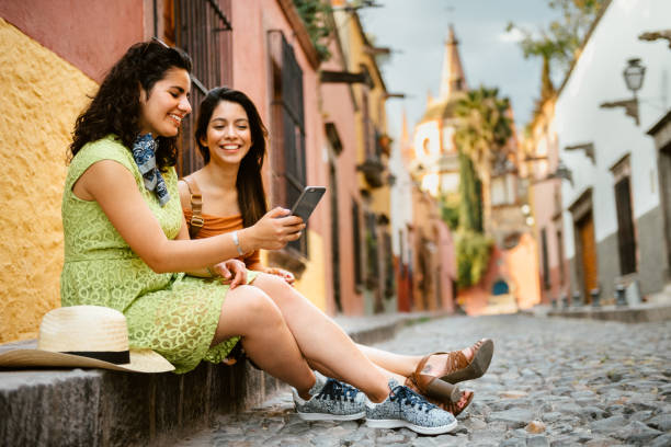 girlfriends traveling mexico - mexico stock photos and pictures
