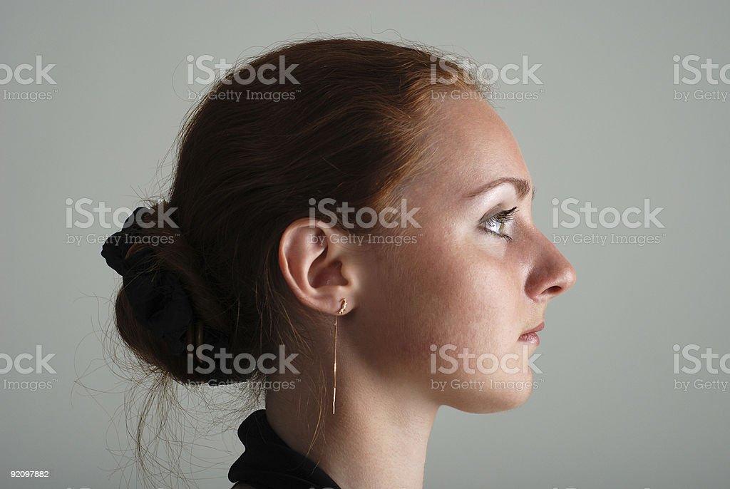 Girlish profile stock photo