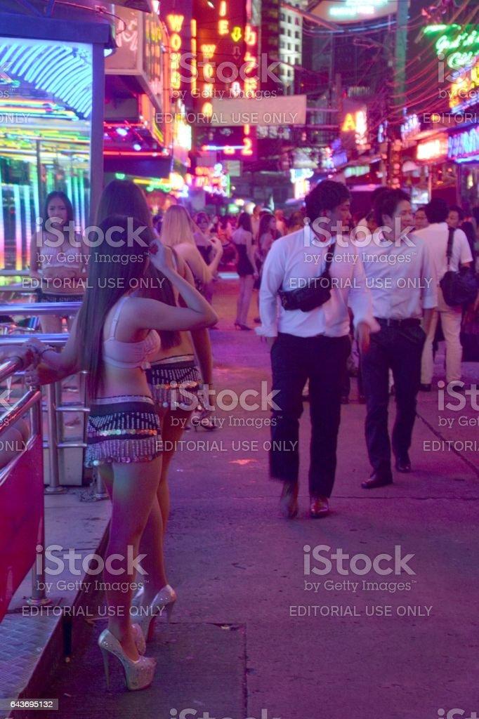 Girls along Soi Cowboy strip, Bangkok, Thailand stock photo