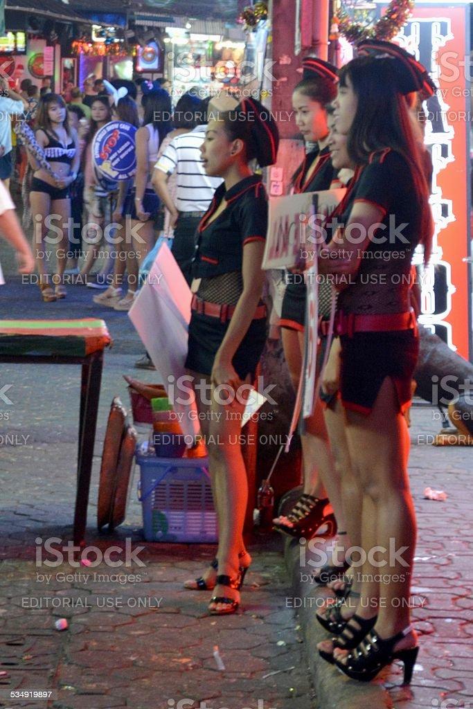 Girls along Walking street, Pattaya - Thailand stock photo