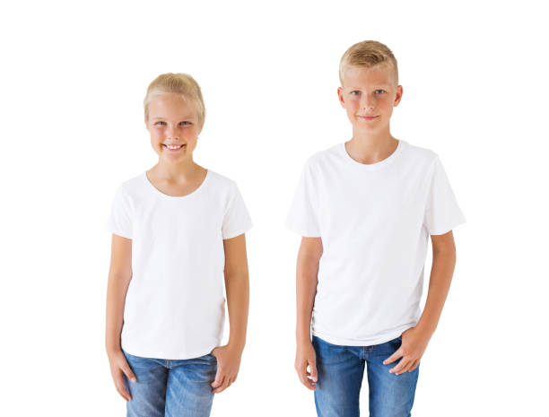 Girl's and boy's white t-shirt mockup template stock photo