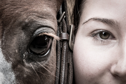Girl's and Horse's Eyes