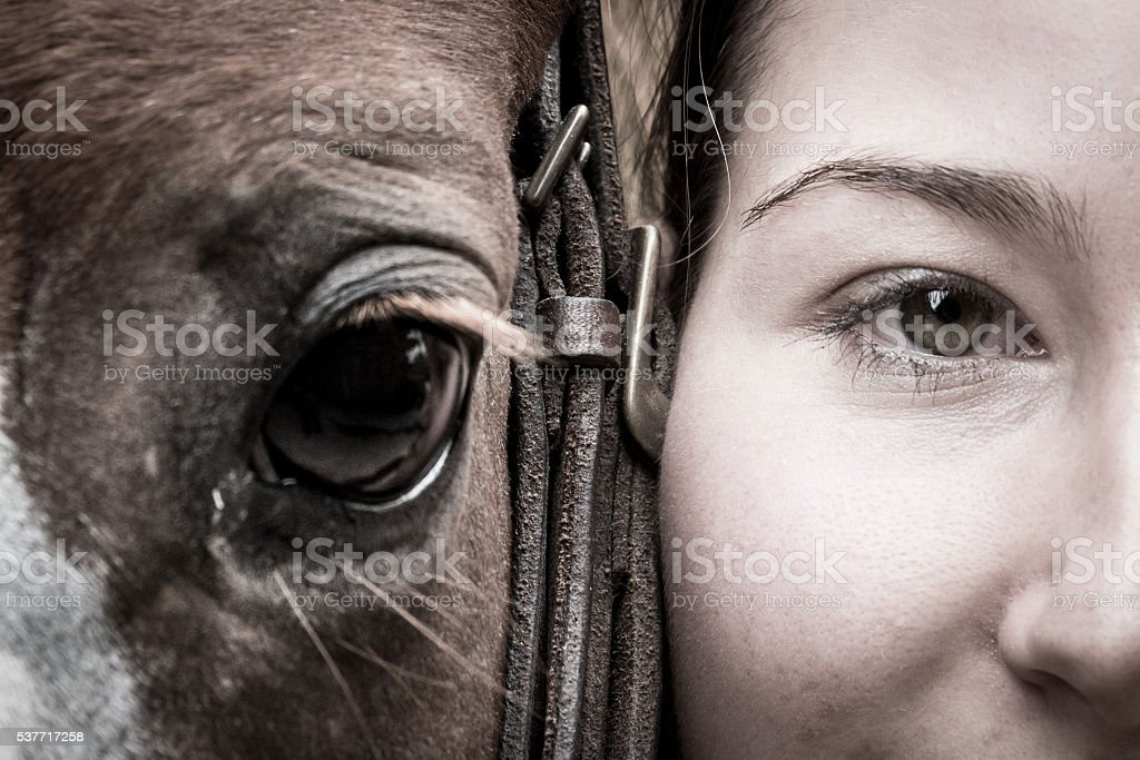 Girl's and Horse's Eyes stock photo