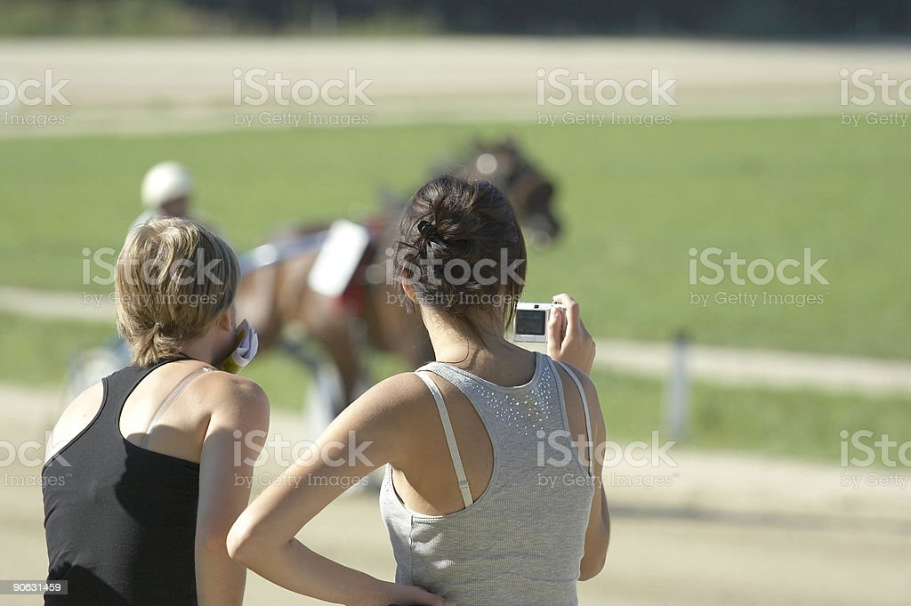 Girls and horses royalty-free stock photo
