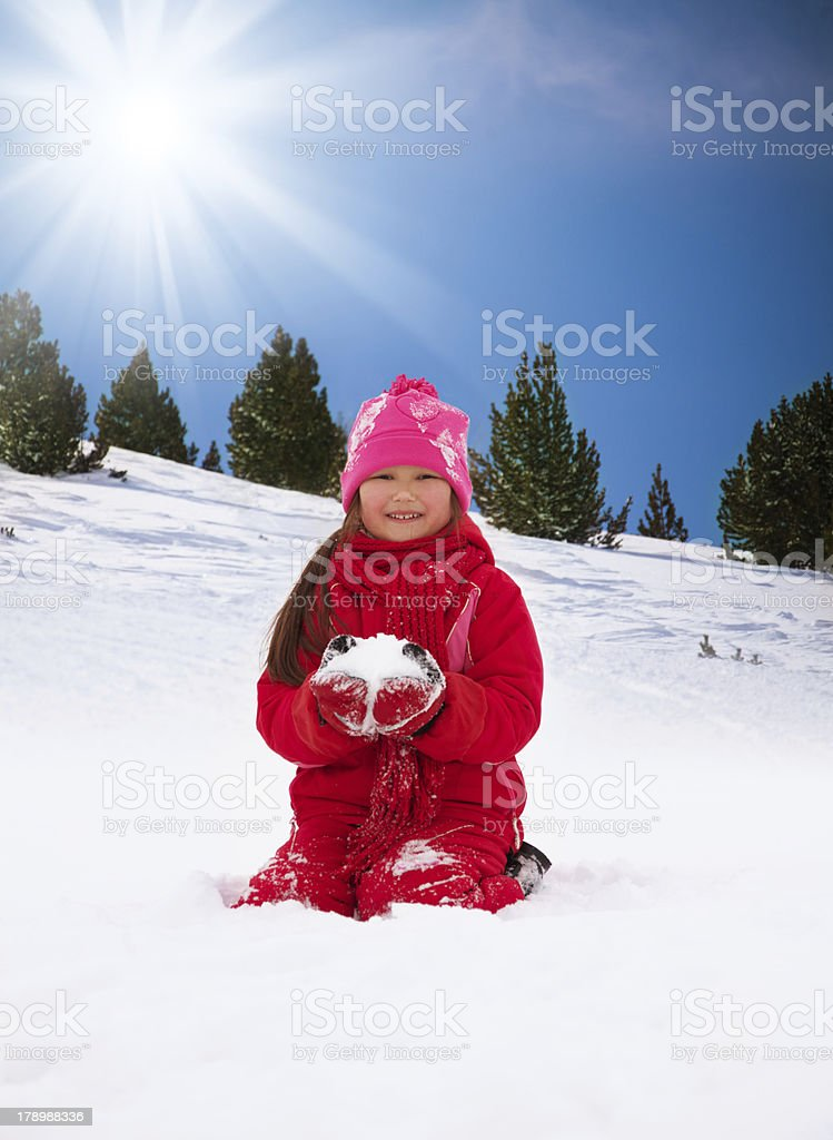 Girls are happy to play with snow royalty-free stock photo