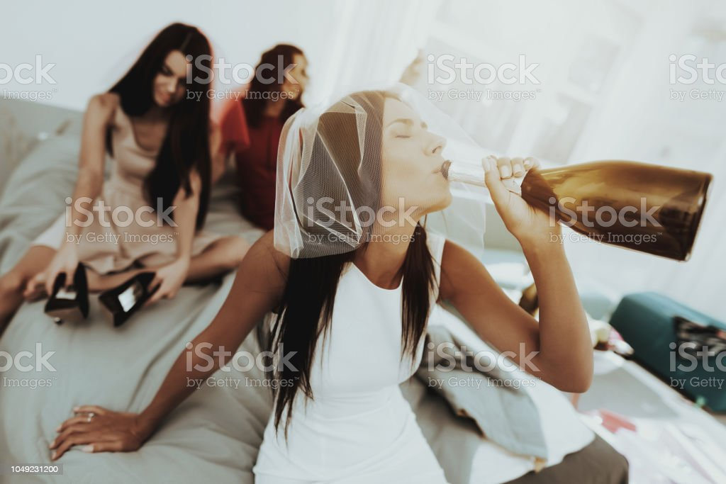 Girls Are Having Great Time On The Hen-Party. stock photo