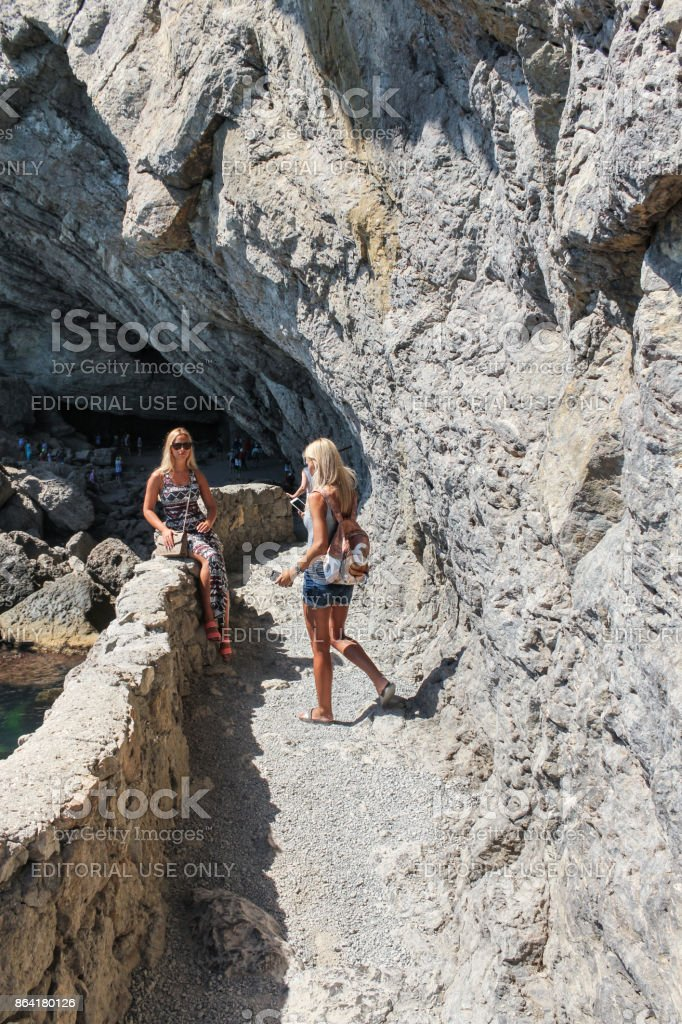Girls are photographed on the trail. royalty-free stock photo