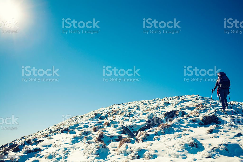 Girls are traveling through the mountains. royalty-free stock photo