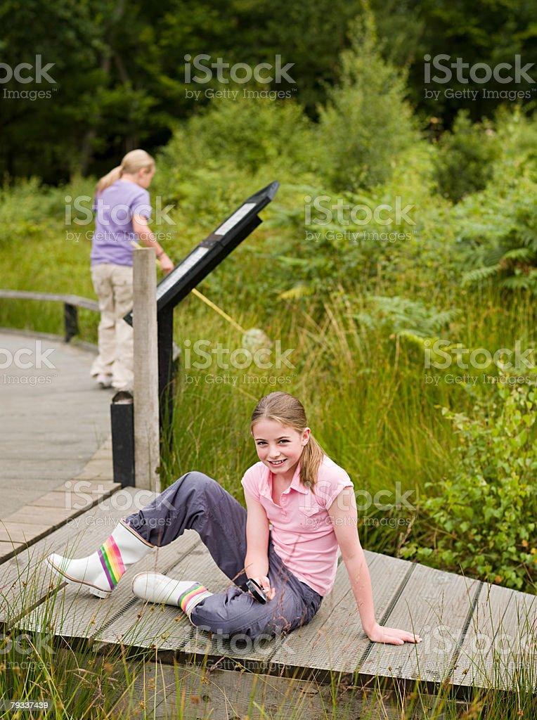 Girls at nature reserve 免版稅 stock photo