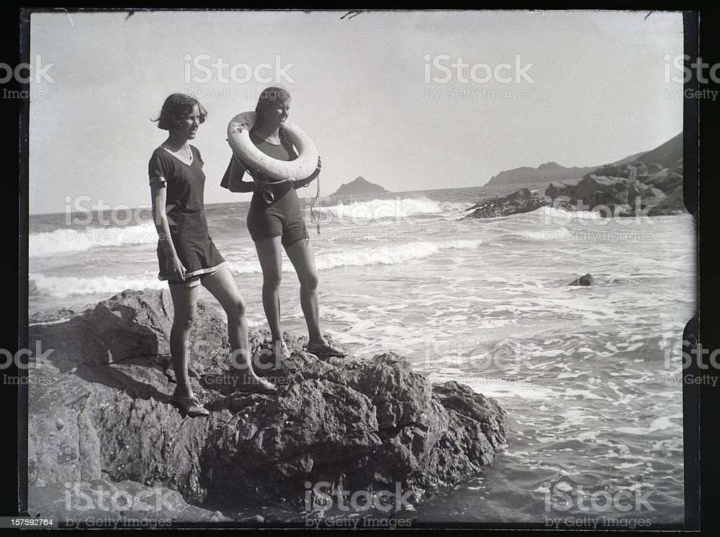 Girls at the Seaside - Vintage Photograph stock photo