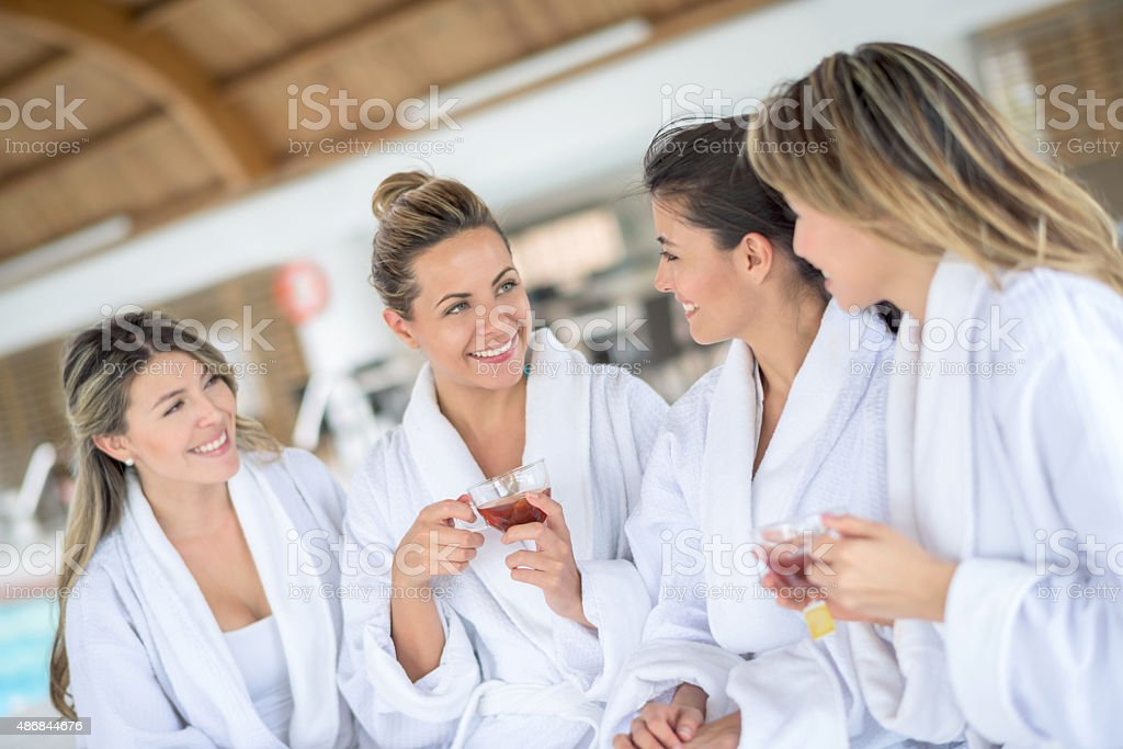 Girls at the spa stock photo