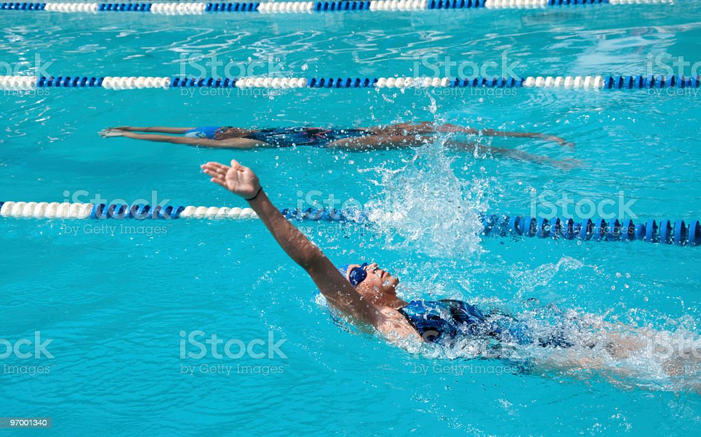 Girls Backstroke with Underwater Pullout stock photo
