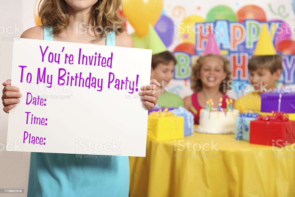 Girl's Birthday Party Invitation stock photo