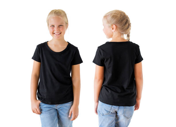 Girl's black t-shirt mockup template, front and back Caucasian ethnicity girl's black t-shirt mockup template, front and back black shirt stock pictures, royalty-free photos & images