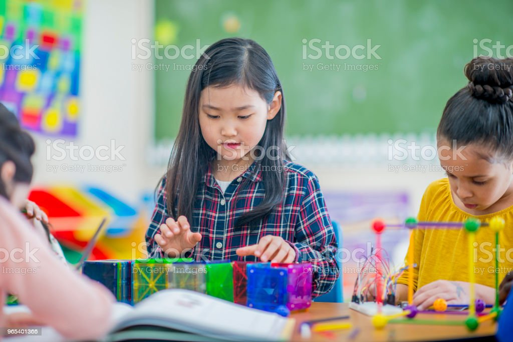 Girls Building Shapes royalty-free stock photo