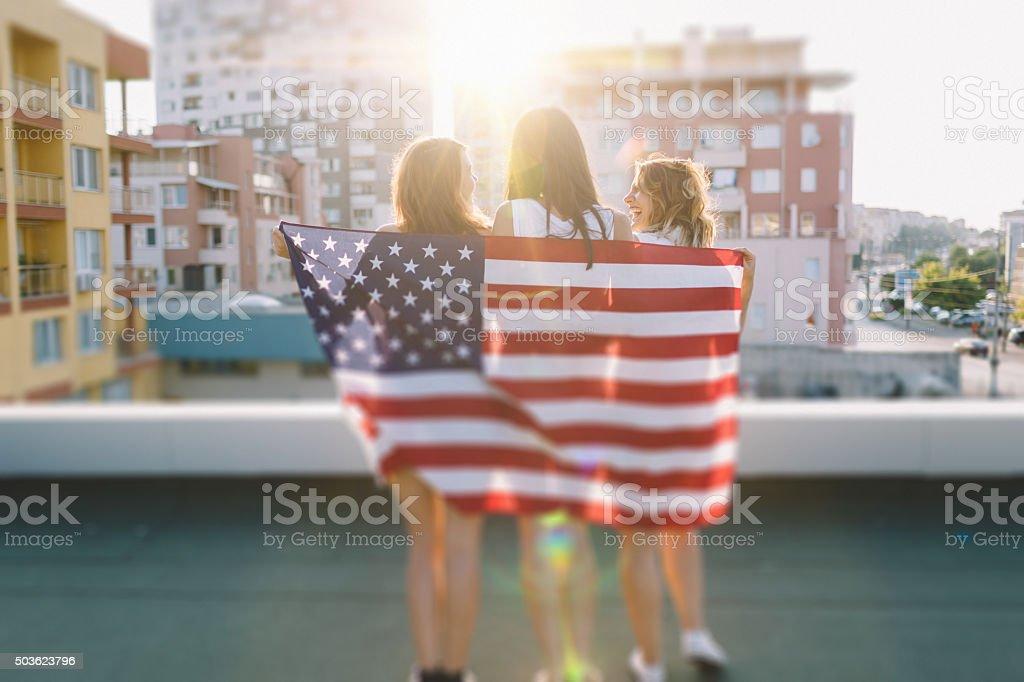 Girls celebrating 4th of July stock photo