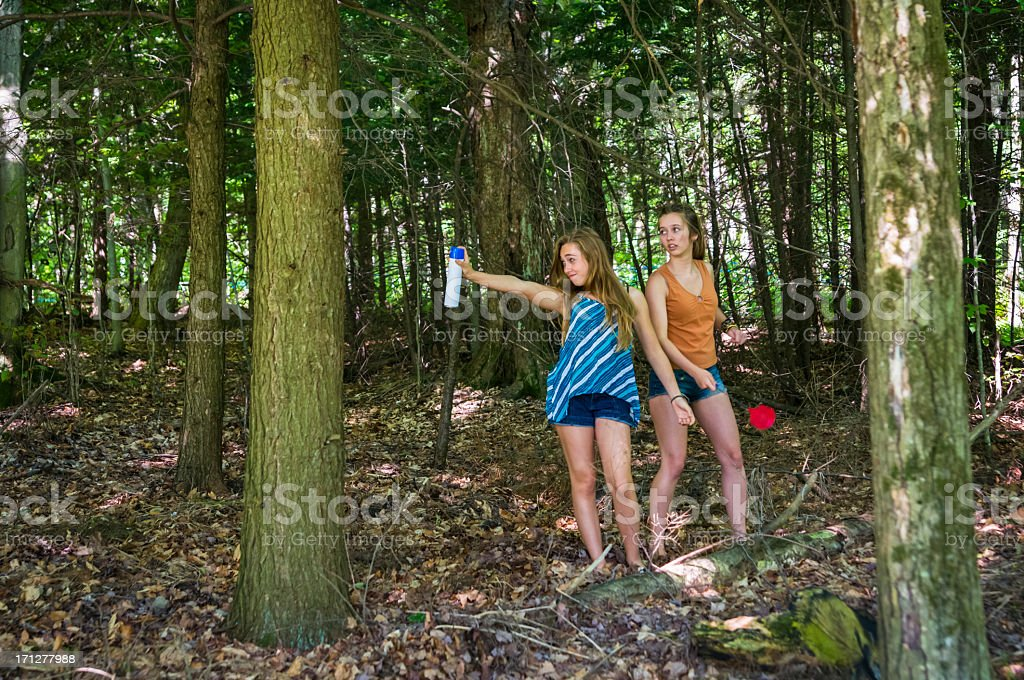 Girls chasing bugs in the forest, horizontal. stock photo