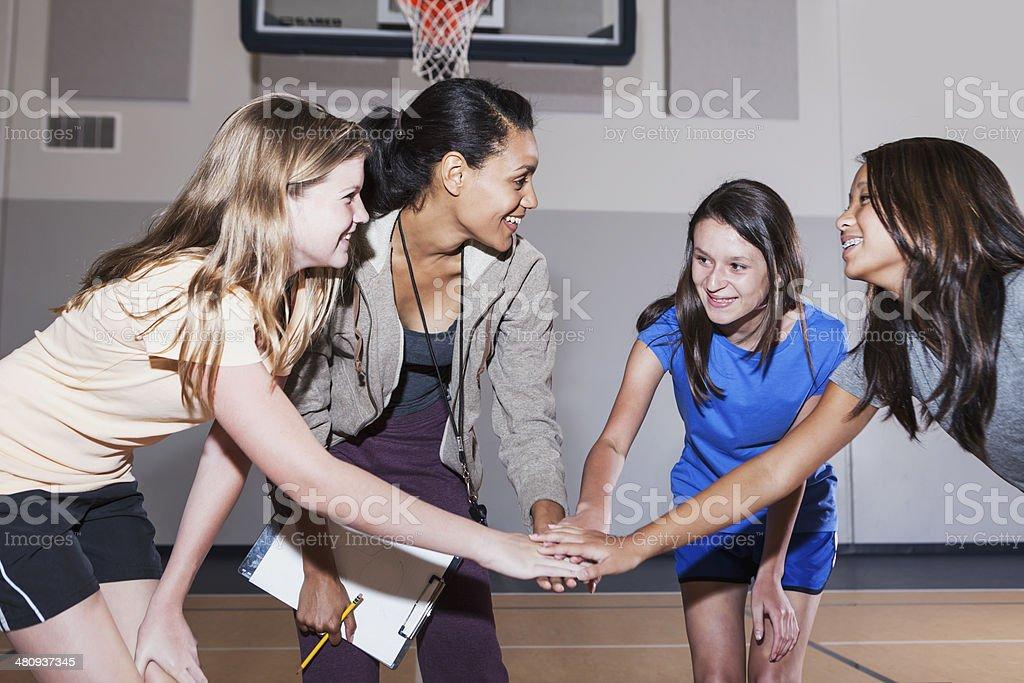 Girls' coach stock photo