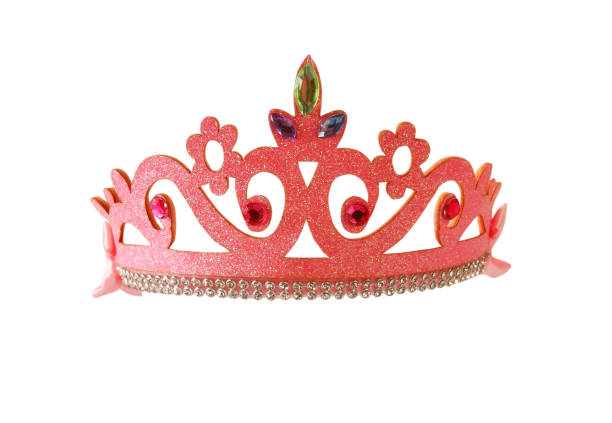 girl's costume crown, isolated on white - prinzessin tiara stock-fotos und bilder