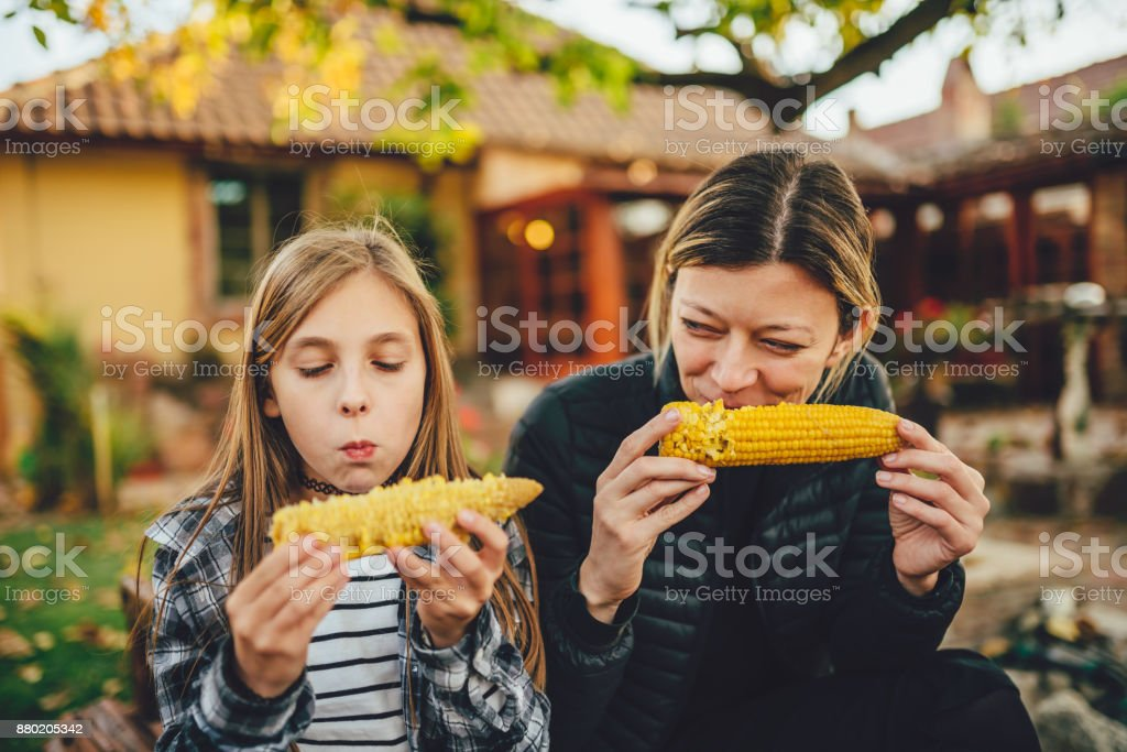 Girls eating sweet corn outdoor stock photo