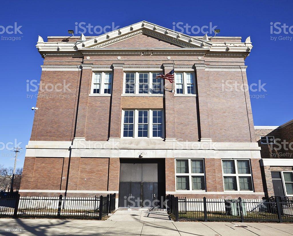 Girls Entrance. Delano Elementary School, West Garfield Park, Ch royalty-free stock photo