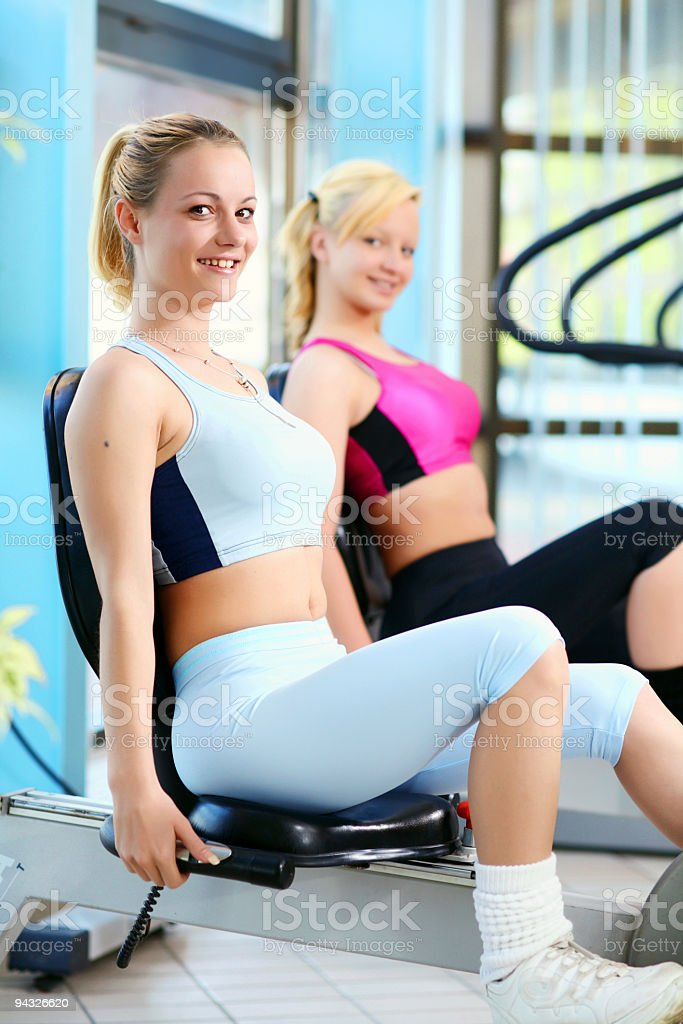 Girls exercising in a fitness center. royalty-free stock photo