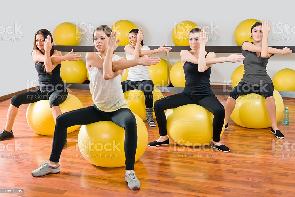 Girls exercising in the fitness class stock photo