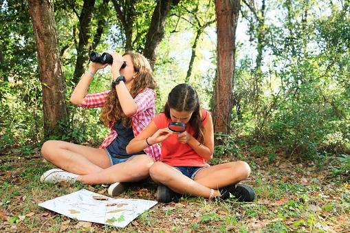 Girls exploring nature