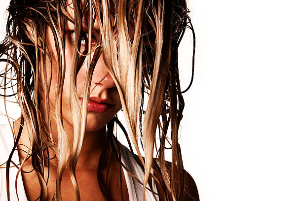 girl's face  with wet long hair  wet hair stock pictures, royalty-free photos & images